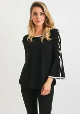 JOSEPH RIBKOFF Tunic Blouse Womens Size 8 Black Cropped Lace Up Bell Sleeves