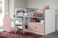 """Vipack: Hochbett """"BONNY"""" 90 x 200 Weiß / Rosa mit Schreibtisch - Halbhochbett"""