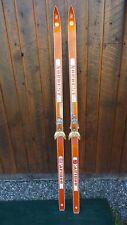 """Vintage Wooden 70"""" Long  Skis with Bindings Signed CARIBOU"""
