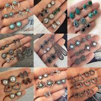 12Pairs/Set Women Retro Turquoise Earrings Jewelry Ear Stud Boho Jewellery