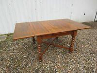 Beautiful Large Antique Solid Oak Barley Twist Extending Draw Leaf Dining Table