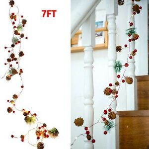 Pre Lit Christmas Garland with Lights 20 LED 7 FT Xmas Pine Cones DIY Wreath UK