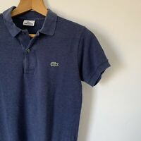 Mens Lacoste Size 2 Polo Shirt Extra Small Navy Blue Short Sleeve Top Collared