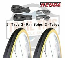 "2-Pack Kenda K35 Gumwall 27x1-1/4"" Road Bike Tires Tubes & Rim Strips Set Kit"