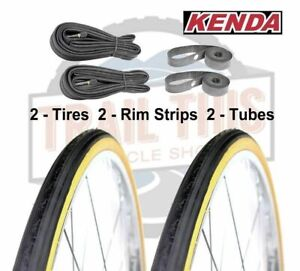 "Kenda Gumwall 27"" x 1-1/4"" Road Bicycle Tires Set Wire Bead Tires 90PSI"