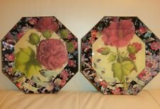 Decoupage Glass 2 Octagonal Floral Plates Signed B. Cardona