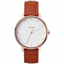 2019 NIB WOMEN'S NIXON KENSINGTON LEATHER WATCH $125 Rose Gold/White 37mm