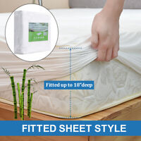 Bamboo Mattress Protector Cover Hypoallergenic Bug Dust Mites Waterproof Queen