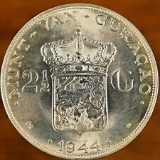 1944-D Curacao 2 1/2 Gulden Silver Coin Choice Original Eye Appeal & Surfaces