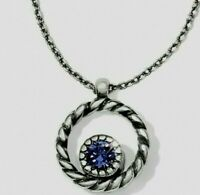 Brighton HALO Mini REVERSIBLE Necklace Silver or  Blue Purple Crystals ~ Tags