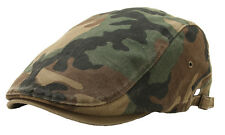 Camouflage Military Pattern Washed Cotton Flat Newsboy Cap Driving Ivy Hat