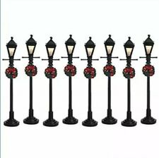 Lemax Lighted Gas Lantern Street Lamps Set of 8 -Holiday Village/Train Christmas