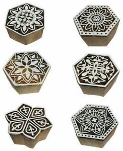 Printing Blocks Stamps Wooden Round Indian Textile Crafts Handmade Set Of 6 Pcs
