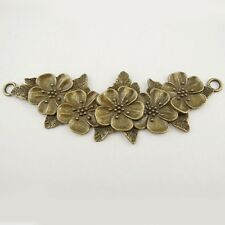 5X Vintage Style Antique Bronze Flowers Connector Pendant Charms 102*37*3mm
