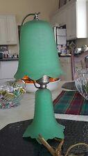 Antique 1940s Green Satin Glass Lamp Nightlight