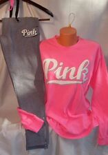 Victorias Secret PINK Long Sleeve Campus Tee & Embroidered Gym Pant Set Sm HTF!