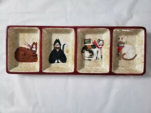 Sakura Christmas Cats Serving / Relish Tray With 4 Sections