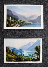 c1870 Schweiz Berner Oberland Brienz Brienzersee 2 kolorierte Aquatina-Ansichten