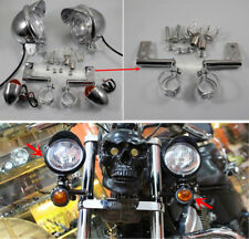Chrome Motorcycle Driving Spot Fog Turn Signal Light + Bracket For Honda Custom