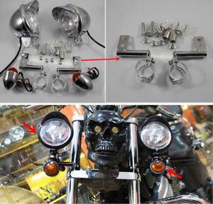 Chrome Motorcycle Driving Spot Fog Turn Signal Light + Bracket For Honda Custom