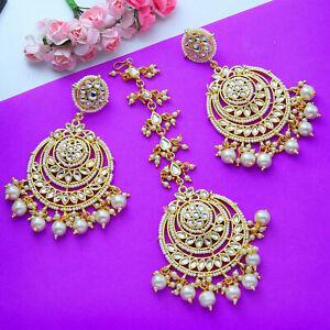 Indian Women Gold Tone Kundan Pearl Tikka & Earring Wedding Fashion Jewelry