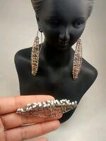 Pretty artisan studio sterling wire wrap pearl pin brooch wire earrings