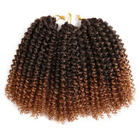 "8"" 3pcs/pack Synthetic Crochet Twist Braids Curly Ombre Braiding Hair Extensions"