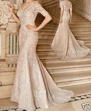 Sexy Mermaid Wedding Dress Bridal Gown V-Neck Short Sleeve Long Lace Custom Size