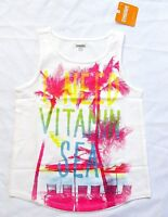 Gymboree Girls Tank Top Shirt Vitamin Sea Beach Print Pink Yellow Palm Trees 7 8