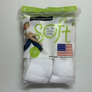 (6 Pairs) No Nonsense Women's Cushioned Crew Socks, White, Shoe Size 4-10 NEW