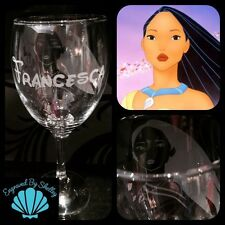 Personalised Disney Princess Wine Glass! Choose Character Handmade FREE Name/Msg