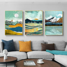 Mountain Lake Sunrise Canvas Painting Abstract Sunset Landscape Poster Print