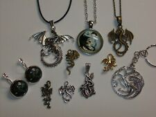 New Listing10 Piece Dragon Necklace/Pendant/Earrings /Keychain & Small Charm Jewelry Lot