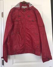 Nwot Xios Men's Zipper Down Hoodie Red Wind Breaker Hoodie Jacket Sz 2L