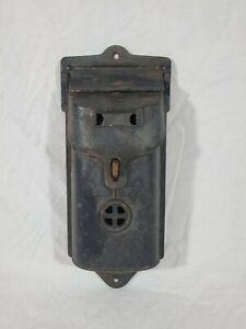 Antique Vtg Cast Iron Wall Mount Mailbox Post Letter Box Holder Lockable 2 Slot