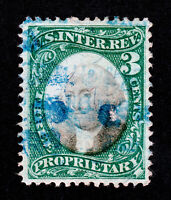 U.S. REVENUE STAMP SCOTT #RB3A 3¢ PROPRIETARY USED VF+ 1871 (SCV $32.50)