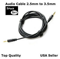 Lot of 5 Aux 2.5mm to 3.5mm Audio Cable Cord Headphone Car PC Connect Cable 5FT