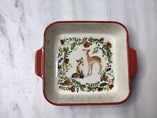 "Holiday Ceramic Baking Dish 8.5""x8.5"" Beautiful Deer Fox Design Meritage"