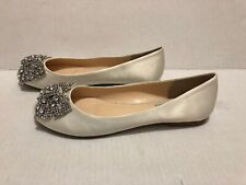 BLUE BY BETSY JOHNSON Ivory Satin Ballet Flats Rhinestone Bows Wedding 8 1/2