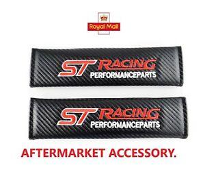 ST  Carbon Fibre Effect.  Racing Performance Seat Belt Shoulder Pads. 1 Pair.