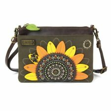 New Chala Mini Crossbody Bag Pleather Convertible Dazzled SUNFLOWER Olive Green