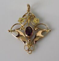 Gold Amethyst Pendant - Vintage 9ct Yellow Gold Amethyst Ornate Open Pendant