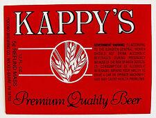 Pocono Brewing Co  KAPPY'S PREMIUM QUALITY beer label PA 12oz