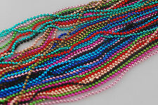 "Wholesale Lots 20Chains Mix Colour Metal 2mm Ball Bead Necklace Findings 27"" NEW"