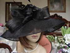 SCALA CLASSICALLY STYLISH BLACK  HAT WITH FEATHERS & FEATHERS-  New
