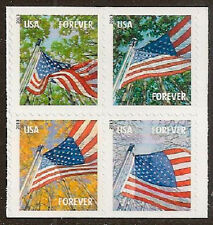 US 4799a Flag for All Seasons forever block set AVR (4 stamps, BK20) MNH 2013