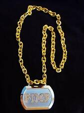 "Shiny ""Golden Pimp Plaque Chain"" Mardi Gras Necklace Bead Bling Gag Prop (B168)"