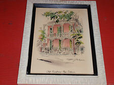 VINTAGE FRAMED SIGNED WATERCOLOR LITHOGRAPH J. HAYMSON OLD RESIDENCE 11 1/2 X 15