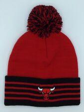 88d8d064 NBA Chicago Bulls Adidas Cuffed Pom Winter Knit Hat Cap Beanie NEW