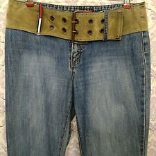 Vintage Tommy Hilfiger Womens Jeans 28 x 32 Flag Belted Flare Leg Distressed 90s